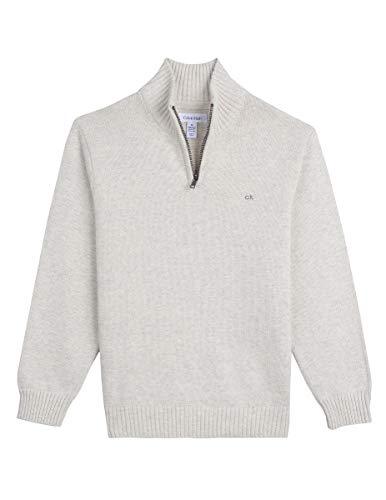 - Calvin Klein Little Boys' Half Zip Sweater, Marled Oatmeal, L6