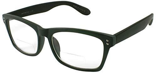 Edge I-Wear Plastic Readers for Men/Women +2.25 Clear Bifocal Lens Reading Glasses 540748TCB2.25-4(Matte GRAY/Matte BLK)