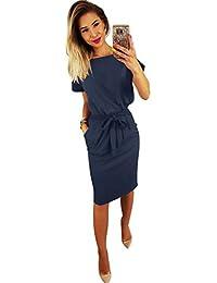 ZIOOER Women's Elegant Short Sleeve Work Casual Pockets Pencil Dress with Belt