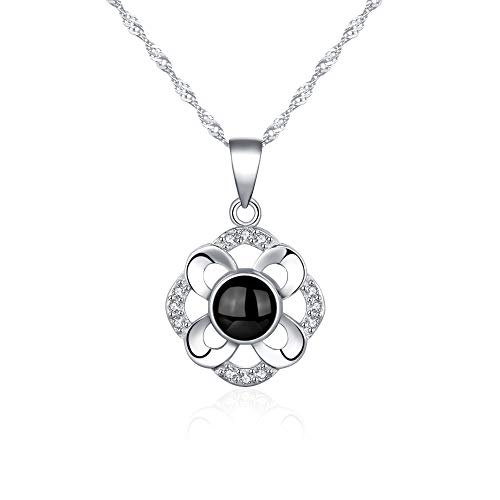 Tasnunisa 925 Sterling Silver Projection Necklace, The Memory of Love Nanotechnology Necklace, Pendant Necklace - 100 Different Languages for I Love ()