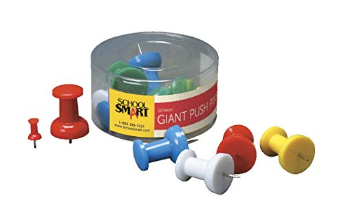 School Smart Giant Push Pin with Reclosable Tub, Assorted Color, Pack of 12 - 081907