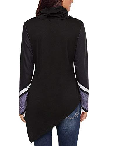 Nero Xl Unica Orlo Shirt Donna Manica Lunga Dolcevita Irregolare Fuweiencore Con Colorblock Nero colore Disegno Da A Righe Dimensione T 0CaUg0q1