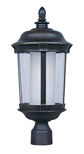 Maxim 86592CDFTBZ Dover EE 1-Light Medium Outdoor Pole/Post Lantern, Bronze Finish, Seedy/Frosted Glass, GU24 Fluorescent Fluorescent Bulb , 13W Max., Damp Safety Rating, 2700K Color Temp, Glass Shade Material, 1800 ()