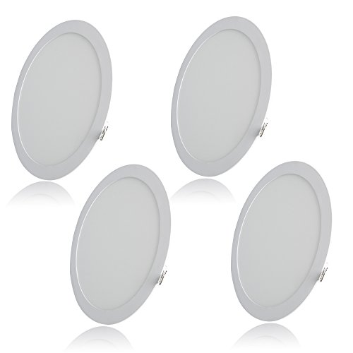 Excellent 7 Inch Round LED Panel Light, 12W (80W Replacement), 5000K Daylight White, 800 Lm, Retrofit LED Recessed Lighting Fixture, LED Ceiling Light Downlight, 4-Pack