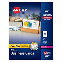 Avery Clean Edge Laser Business Cards, White, 2 x 3.5 Inches, Box of 2000 (Clean Edge Cards)
