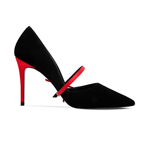 shoes 35 Farbe Damenschuhe Bow OL Pumps Heels Größe High Spitze Schwarz JE dPpq8d