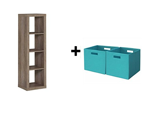 Better Homes and Gardens 4-Cube Organizer Rustic Gray Storage Bookcase Bookshelf with Storage Bins Teal from .Better Homes & Gardens