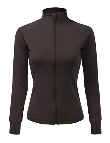 Zipper Charcoal - NINEXIS Womens Long Sleeve Active Jacket with Thumb Holes Charcoal X-Large
