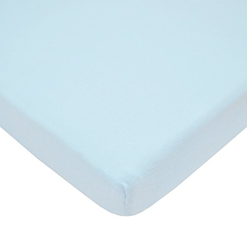 Tl Care 100 Natural Cotton Value Jersey Knit Fitted Portable Mini Crib Sheet Blue Soft Breathable For Boys And Girls