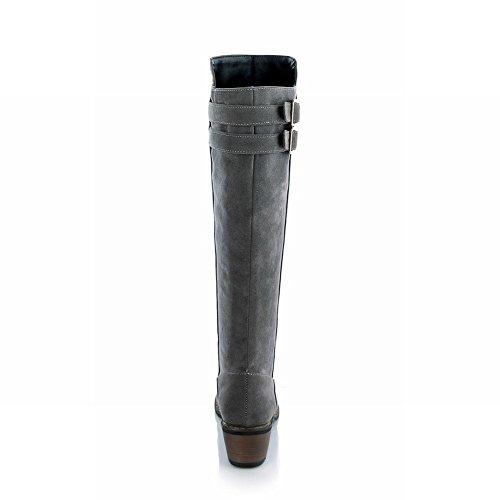 Carolbar Women's Classic Casual Buckles Mid Heel Nubuck Knee High Boots Grey j8XtWtF