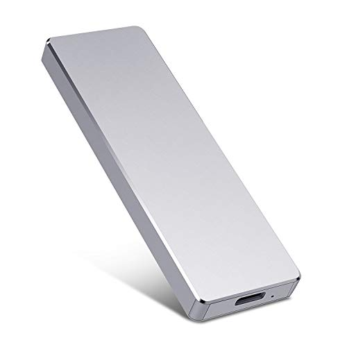 Portable 1TB 2TB External Hard Drive - Portable Hard Drive Super Fast Type-C External USB3.1 Hard Drive for Mac,PC,Desktop,Laptop (Silver,2TB)