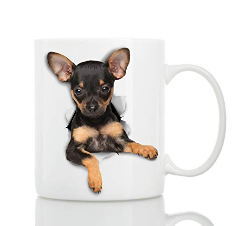 Funny Toy Terrier Dog Mug - Ceramic Funny Coffee Mug - Perfect Dog Lover Gift - Cute Novelty Coffee Mug Present - Great Birthday or Christmas Surprise for Friend or Coworker, Men and Women (11oz)