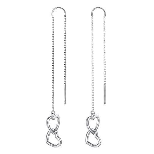 YinShan 925 Sterling Silver Threader Dangle Drop Elegant Earring Ear Long Bar Chandelier Tassel Chain Retro Ear Line Jewelry for Women (Heart)