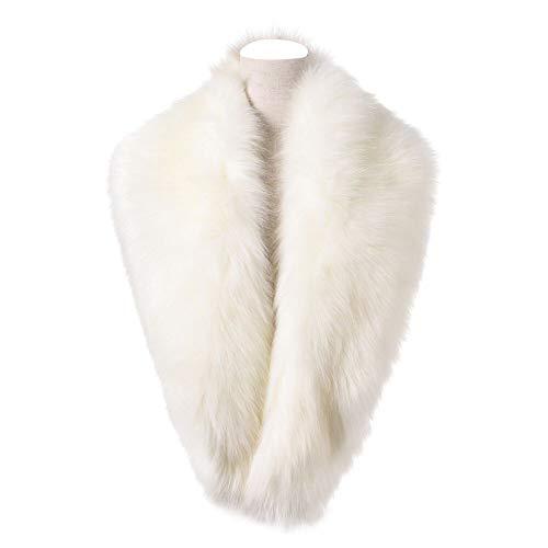 Dikoaina Extra Large Women's Faux Fur Collar for Winter Coat,White,120cm ()