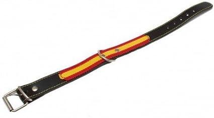 PILESAN - Collar Cuero Con Bandera España: Amazon.es: Productos para mascotas