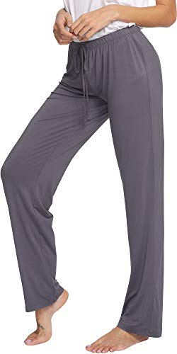 WiWi Bamboo Cozy Drawstring Stretch Lounge Jogger Pajama Pants for Women, Cervinus, Small ()