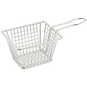 Winco FBM-544T, 5x4x4-Inch Stainless Steel Rectangular Mini Deep Fry Serving Basket
