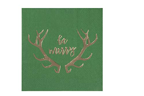 Cocktail Napkins - 50-Pack Disposable Paper Napkins, Christmas Holidays Dinner Party Supplies, 3-Ply, Reindeer Antlers in Gold Foil Design, Unfolded 10 x 10 Inches, Folded 5 x 5 Inches