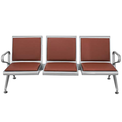 3 Seat Guest Chair - VEVOR Waiting Room Chairs 3 Seat PU Leather Business Reception Bench for Office Barbershop Salon Airport Bank Hospital Market(3 Seat,Brown)