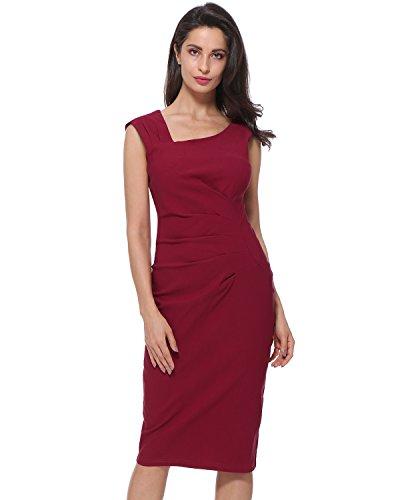 Kenancy Mujer Vestido de Fiesta Elegante Falda Lápiz sin Mangas Collar Irregular Bodycone S-2X Rojo Oscuro