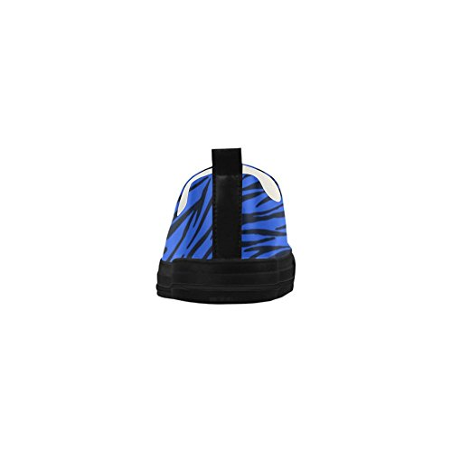 D-histoire Personnalisé Zèbre Bleu Rayures Apus Glisser Sur Des Chaussures De Femmes En Microfibre (modèle 021)