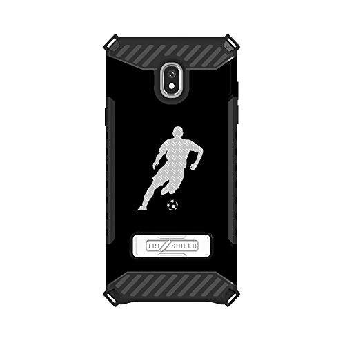 Trishield Hybrid Case with Kickstand for Samsung Galaxy J7 Star by InfoposUSA Soccer Player Silhouette