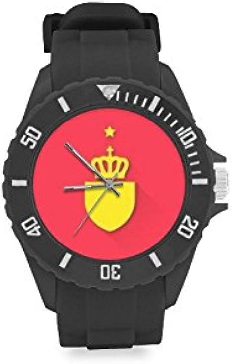 Reloj de Pulsera con Logotipo del Equipo de España, Rojo y Amarillo, Correa de Goma, Reloj de Pulsera Casual Anolog de Cuarzo: Amazon.es: Relojes
