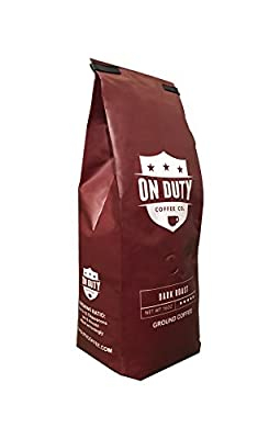 On Duty Strong, Aromatic Dark Roast Ground Coffee in Stay Fresh Bag with Valve, 1 lb | Made from 100% Fresh Arabica Beans