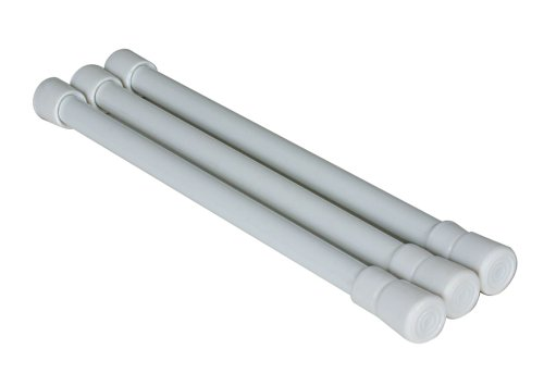 "camco 17"" rv refrigerator bar, holds food and drinks in place during travel, prevents messy spills, spring loaded and extends between 10"" and 17"" - white (3 pack) (44063)"