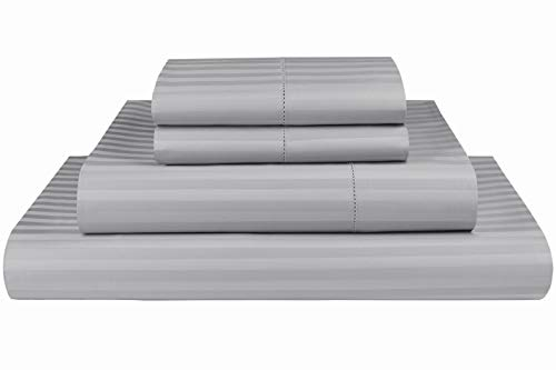 (Threadmill Home Linen 600 Thread Count 100% Cotton Sheets, 1CM Damask Stripe Silver Queen Sheets 4 Piece ELS Cotton Bed Sheet Set Luxury Sateen Sheets Fits Mattress Up to 18'')