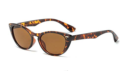 Vintage Retro Small Cat Eye Sunglasses for Women Pointed Oval Plastic Frame (Tortoise Shell Brown, 55)
