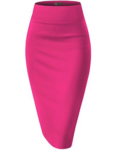 Womens Pencil Skirt for Office Wear KSK43584X 1139 FUCHSIA 1X