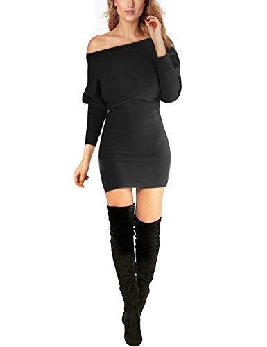 Schulterfreies langaermelig Mini Kleid Schwarz Gr. S 36-38