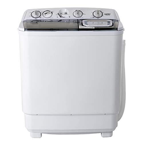 KUPPET Compact Twin Tub Portable Mini Washing Machine 21lbs Capacity, Washer(13lbs)&Spiner(8lbs)/Semi-Automatic