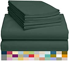LuxClub 6 PC Bamboo Sheet Set 18 inch Deep Pocket Sheets Eco Friendly, Wrinkle Free, Hypoallergenic, Antibacterial,...