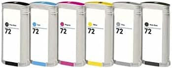 Juego de 6 Unidades HP 72/HP C9403 A C9370 A C9371 A c9372 a C9373 A c9374 a (Mate Black, Photo Black, Cian, Magenta, Yellow, Grey, 6 x 130 ml, la última