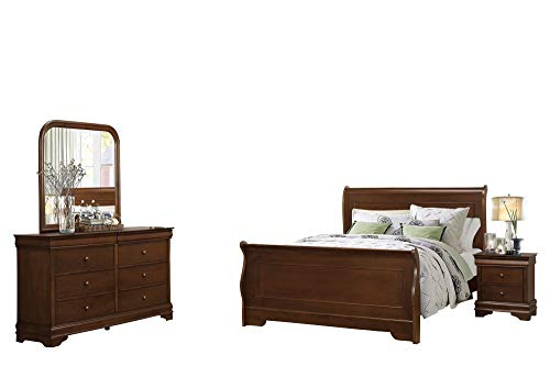 Cal King Sleigh Bedroom Set - Addler Louis Philippe 4PC Bedroom Set Cal King Sleigh Bed, Dresser, Mirror, 1 Nightstand in Brown Cherry