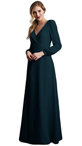 liangjinsmkj V-Neck Bridesmaid Dresses Long Sleeve Pleat Chiffon Wedding Party Prom Gowns Peacock US6