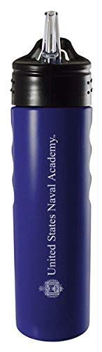 United States Naval Academy-24oz. Stainless Steel Grip Water Bottle with Straw-Blue