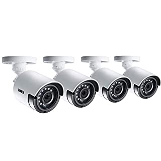 Lorex Weatherproof Indoor/Outdoor 4MP Super HD Wired Security Bullet Camera w/Long Range Color Night Vision (4 Pack)