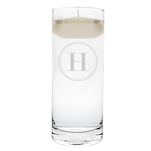 Cathy's Concepts Personalized Circle Monogram Floating Unity Candle, Letter H