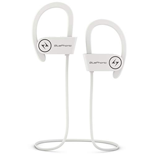 Bluephonic Wireless Sport Bluetooth Headphones, Hd Beats Sound Quality, Sweat Proof Stable Fit in Ear Workout Earbuds, Ergonomic Running Earphones, Noise Cancelling Microphone (White)
