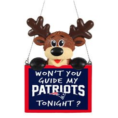 2015 NFL Football Team Logo Reindeer With Sign Holiday Tree Ornament - Pick Team (New England Patriots) (Logo Ornament)