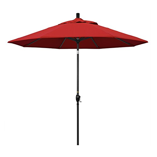 (California Umbrella 9' Round Aluminum Market Umbrella, Crank Lift, Push Button Tilt, Black Pole, Sunbrella Jockey Red)
