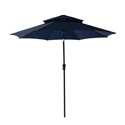 Blue Market Navy Umbrella - C-Hopetree 9 feet Double Top Outdoor Patio Market Umbrella Crank Lift Push Button Tilt Navy Blue