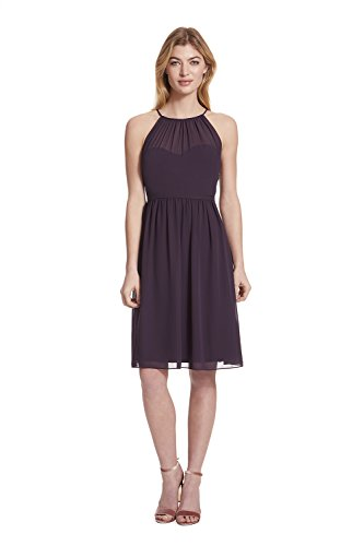 Samantha Paige Spaghetti Halter Chiffon Cocktail Dress With Illusion (Plum Cocktail)