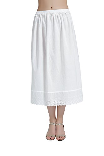 BEAUTELICATE Half Slip Skirt Extender with Lace Embroidery 100% Cotton Vintage Underskirt Ivory 32