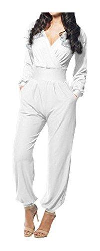 SACASUSA (TM) Deep V neckline Full Length Long Sleeve Romper Jumpsuit in White L
