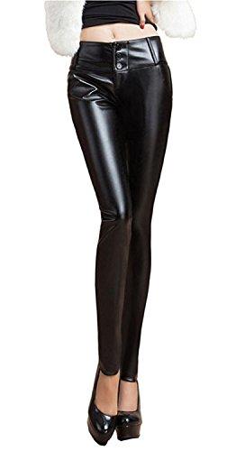 Ovirao Womens Fashion Winter Warm PU Leather Stretchy Skinny Pencil Pants Black_summerAsian 3XL (US (Great Gatsby Themed Dress Up)