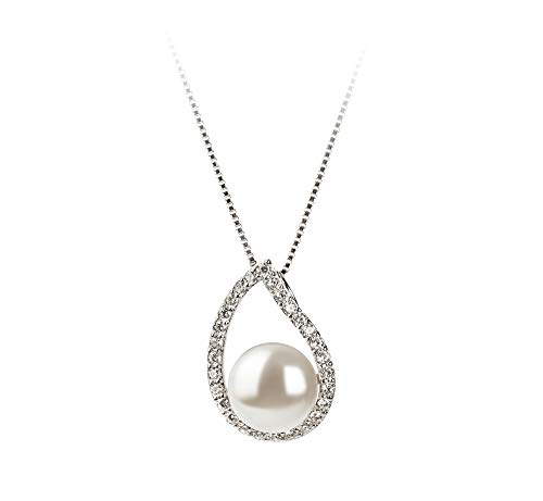 Isabella White 9-10mm AA Quality Freshwater 925 Sterling Silver Cultured Pearl Pendant For Women